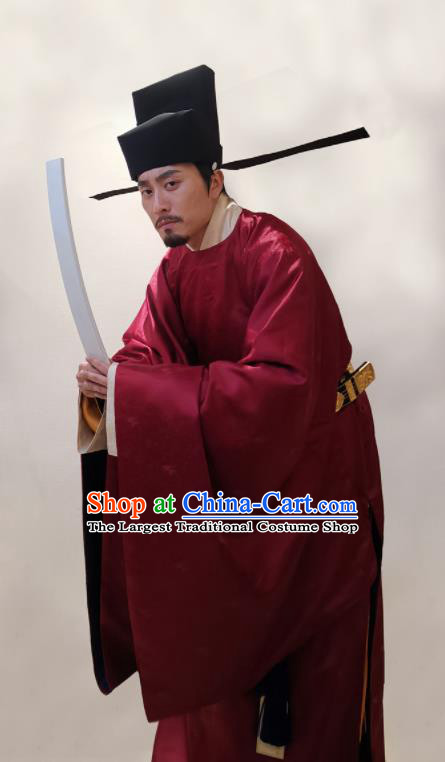 Traditional Chinese Ancient Government Official Hanfu Robe Song Dynasty Minister Replica Costume for Men