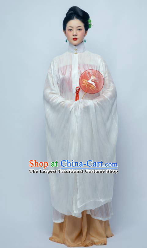Traditional Chinese Ancient Imperial Consort White Hanfu Dress Ming Dynasty Court Countess Replica Costume for Women
