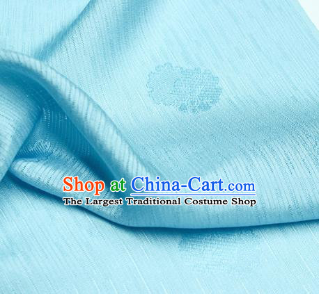 Traditional Chinese Classical Flowers Pattern Design Light Blue Silk Fabric Ancient Hanfu Dress Silk Cloth