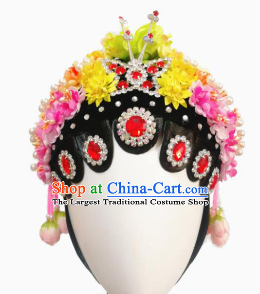 Chinese Traditional Classical Dance Beijing Opera Diva Hair Accessories Fan Dance Wig Chignon Headdress for Women
