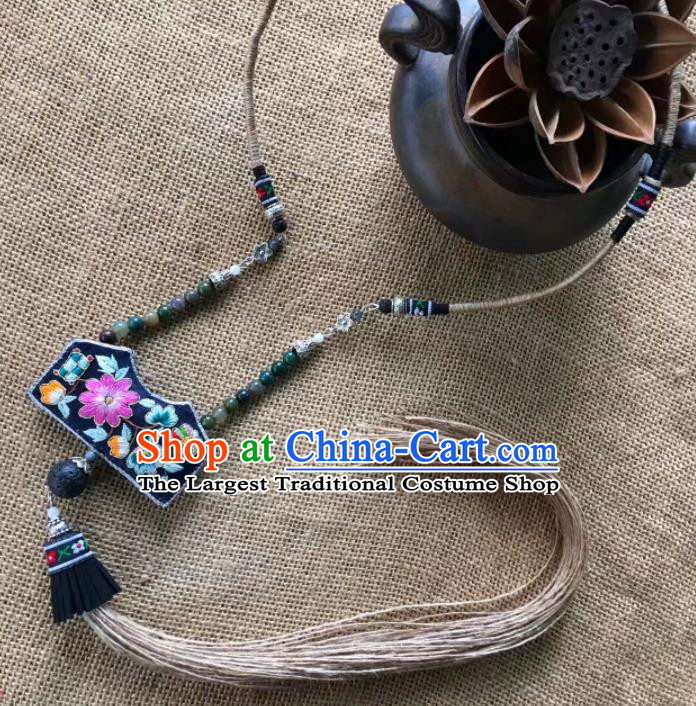 Chinese Traditional Ethnic Embroidered Necklet Accessories Nationality Tassel Necklace for Women