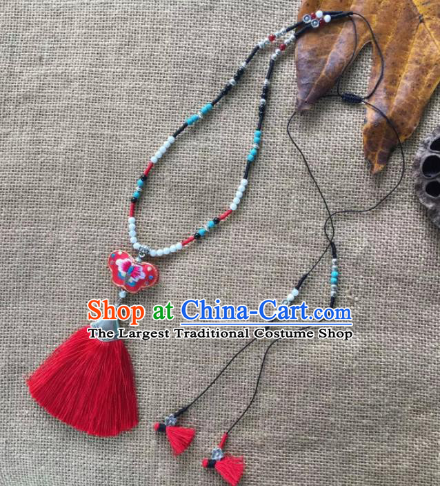 Chinese Traditional Ethnic Red Embroidered Necklace Accessories Nationality Tassel Necklet for Women