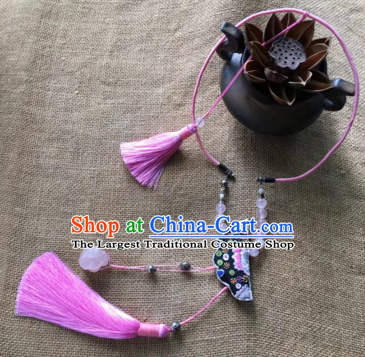 Chinese Traditional Ethnic Embroidered Necklace Accessories Nationality Pink Tassel Necklet for Women