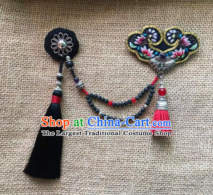 Chinese Traditional Ethnic Black Embroidered Necklace Accessories Nationality Tassel Necklet for Women