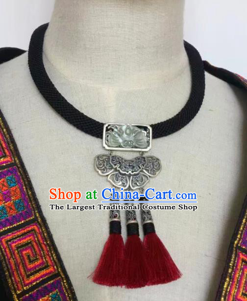 Chinese Traditional Ethnic Tassel Necklace Accessories Nationality Silver Butterfly Necklet Pendant for Women