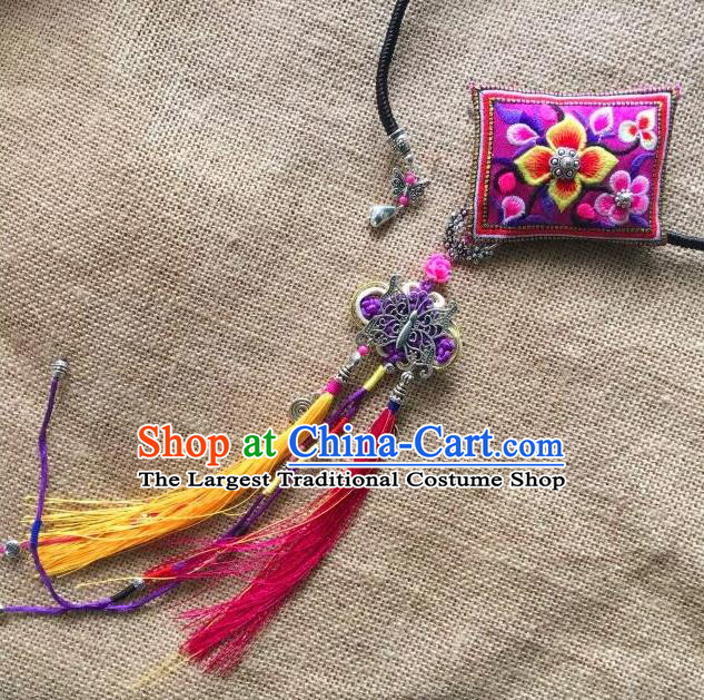 Chinese Traditional Ethnic Purple Embroidered Necklet Accessories Nationality Tassel Necklace for Women