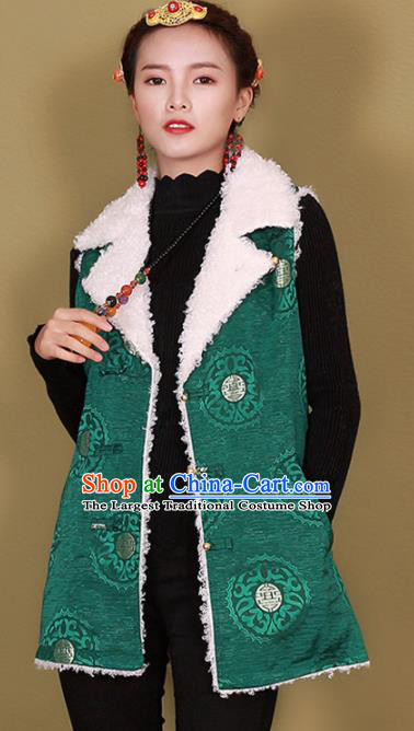 Traditional Chinese Zang Ethnic Winter Green Vest Tibetan Minority Upper Outer Garment Costume for Women