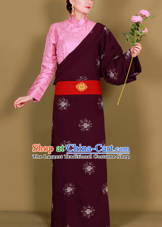Traditional Chinese Zang Ethnic Purplish Red Guozhuang Dress Tibetan Minority Folk Dance Costume for Women