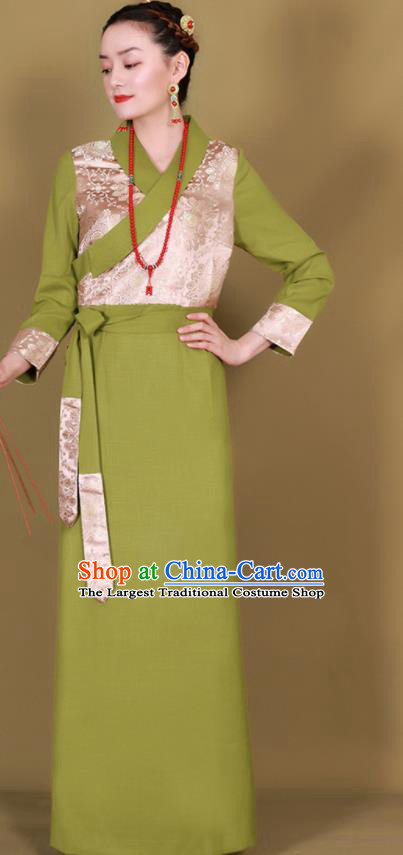 Traditional Chinese Zang Ethnic Kangba Green Dress Tibetan Minority Folk Dance Costume for Women