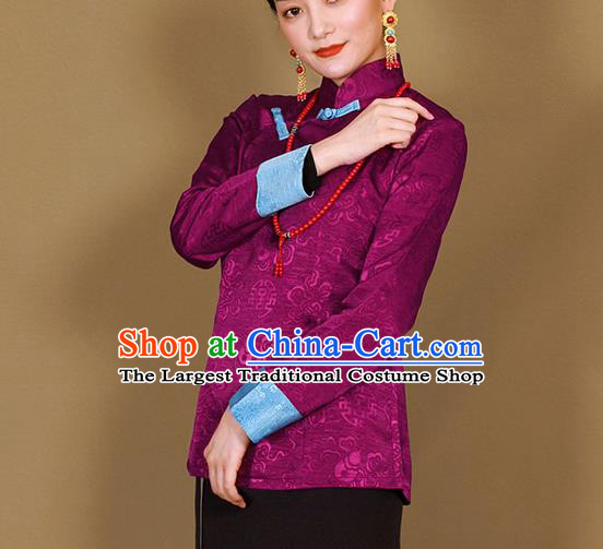 Traditional Chinese Zang Ethnic Purple Shirt Tibetan Minority Upper Outer Garment Costume for Women