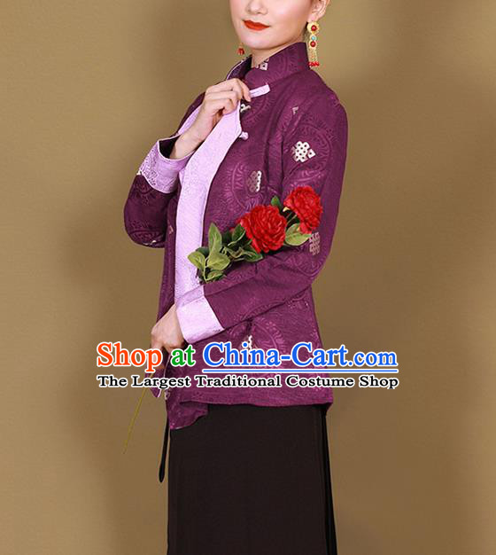 Traditional Chinese Zang Ethnic Deep Purple Shirt Tibetan Minority Upper Outer Garment Costume for Women