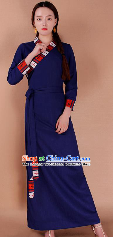 Traditional Chinese Zang Ethnic Royalblue Dress Tibetan Minority Folk Dance Costume for Women