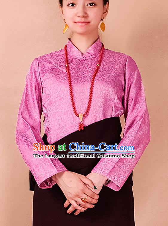 Traditional Chinese Zang Ethnic Pink Blouse Tibetan Minority Folk Dance Shirt Costume for Women