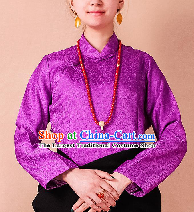 Traditional Chinese Zang Ethnic Purple Blouse Tibetan Minority Folk Dance Shirt Costume for Women