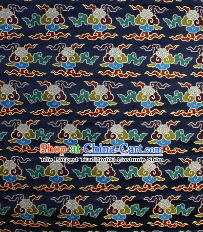 Asian Chinese Traditional Buddhism Auspicious Cloud Pattern Navy Brocade Tibetan Robe Satin Fabric Silk Material