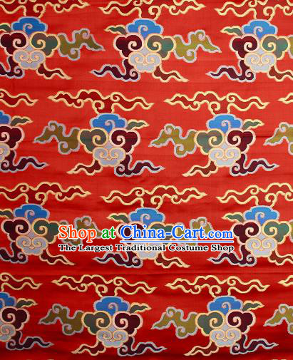 Asian Chinese Traditional Buddhism Auspicious Cloud Pattern Red Brocade Tibetan Robe Satin Fabric Silk Material
