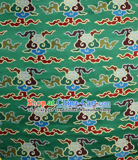 Asian Chinese Traditional Buddhism Auspicious Cloud Pattern Green Brocade Tibetan Robe Satin Fabric Silk Material