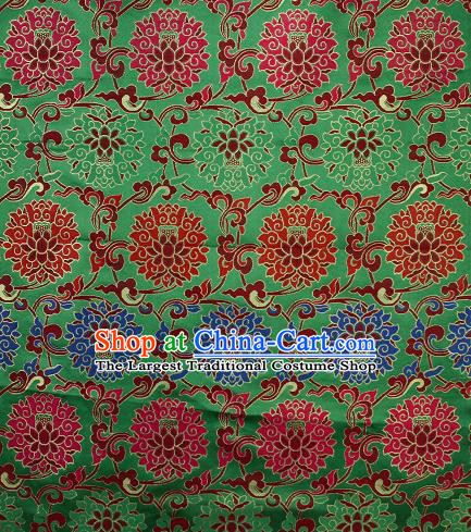 Asian Chinese Traditional Colorful Lotus Pattern Green Brocade Tibetan Robe Satin Fabric Silk Material