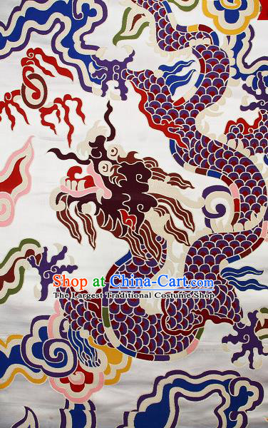 Asian Chinese Traditional Colorful Cloud Dragon Pattern White Brocade Tibetan Robe Satin Fabric Silk Material