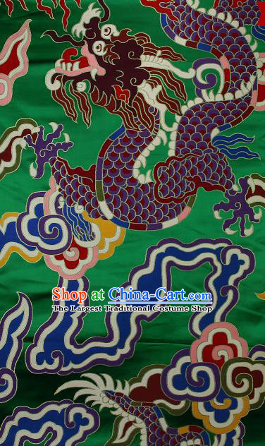 Asian Chinese Traditional Colorful Cloud Dragon Pattern Green Brocade Tibetan Robe Satin Fabric Silk Material
