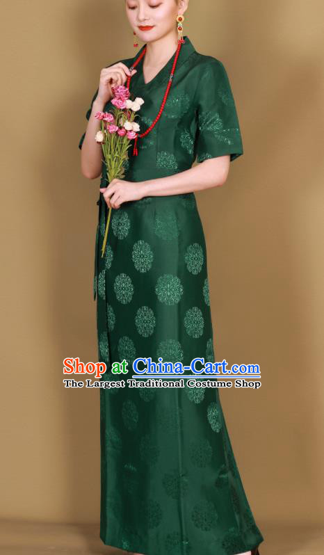 Traditional Chinese Zang Ethnic Green Guozhuang Dress Tibetan Minority Folk Dance Costume for Women