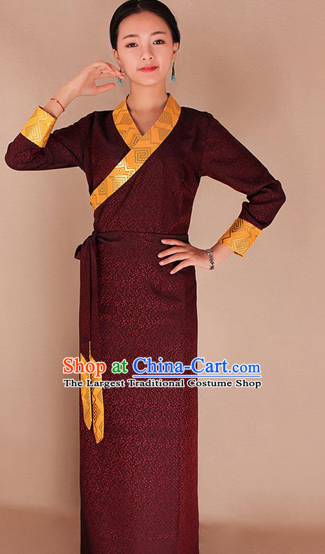 Traditional Chinese Zang Ethnic Kangba Purplish Red Dress Tibetan Minority Folk Dance Costume for Women