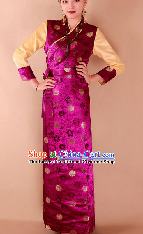 Traditional Chinese Zang Ethnic Kangba Rosy Brocade Dress Tibetan Minority Folk Dance Costume for Women