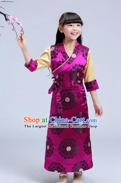 Traditional Chinese Zang Ethnic Girls Rosy Brocade Dress Tibetan Minority Folk Dance Costume for Kids