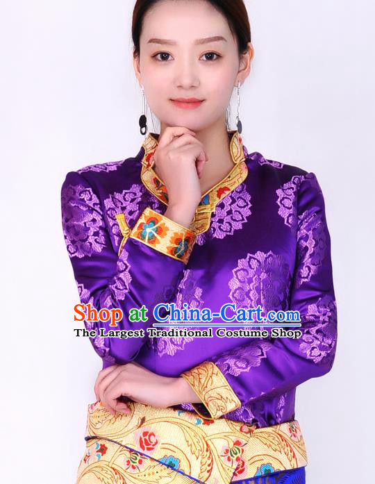 Traditional Chinese Zang Ethnic Purple Brocade Blouse Tibetan Minority Folk Dance Shirt Costume for Women