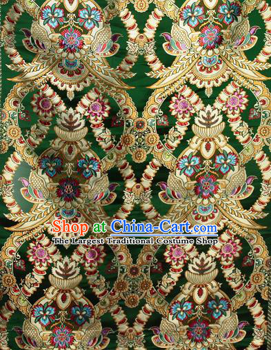 Asian Chinese Traditional Buddhism Galsang Flower Pattern Green Brocade Tibetan Robe Satin Fabric Silk Material