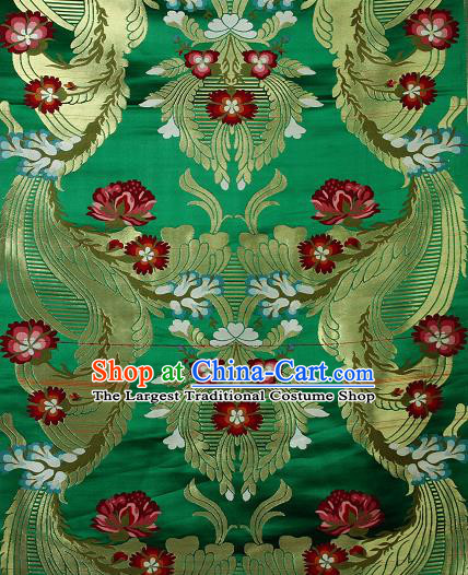Asian Chinese Traditional Phoenix Galsang Flowers Pattern Green Brocade Tibetan Robe Satin Fabric Silk Material