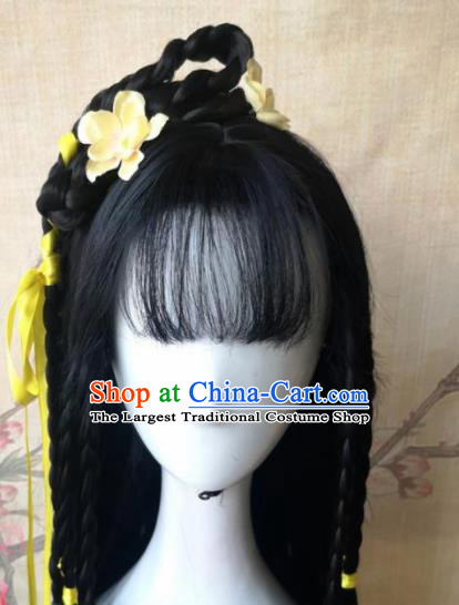 Chinese Traditional Cosplay Female Knight Huang Rong Wigs Ancient Swordswoman Wig Sheath Hair Accessories for Women