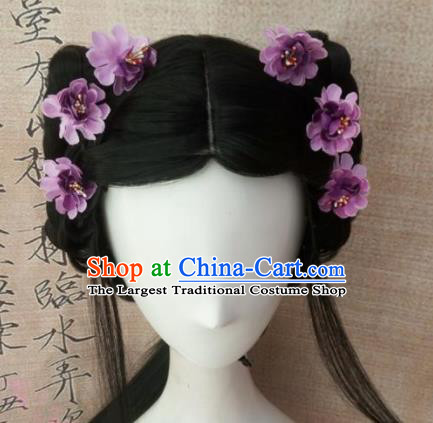 Chinese Traditional Cosplay Court Maid Wigs Ancient Maidservants Wig Sheath Hair Accessories for Women