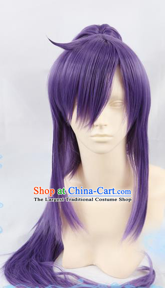 Chinese Traditional Cosplay Young Hero Purple Wigs Ancient Swordsman Wig Sheath Hair Accessories for Men
