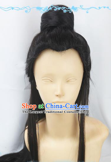 Chinese Traditional Cosplay Young Hero Black Wigs Ancient Swordsman Wig Sheath Hair Accessories for Men