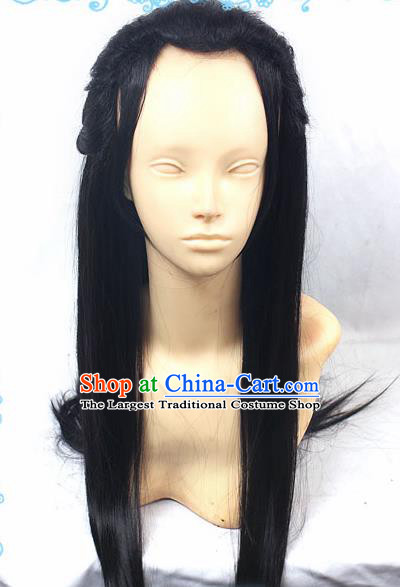 Chinese Traditional Cosplay Young Hero Black Long Wigs Ancient Swordsman Wig Sheath Hair Accessories for Men