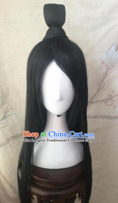 Traditional Chinese Cosplay Swordsman Black Wigs Ancient Nobility Childe Wig Sheath Hair Accessories for Men
