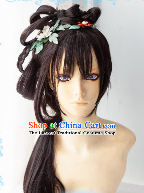 Chinese Traditional Cosplay Imperial Concubine Wigs Ancient Swordswoman Wig Sheath Hair Accessories for Women