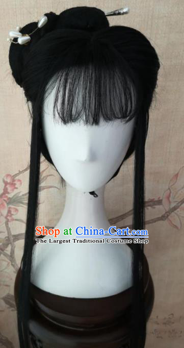 Chinese Traditional Cosplay Fairy Hu Meiniang Wigs Ancient Swordswoman Wig Sheath Hair Accessories for Women