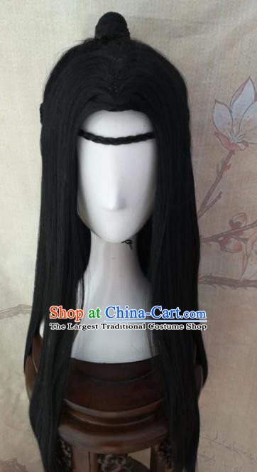 Traditional Chinese Cosplay Nobility Childe Swordsman Wigs Ancient Prince Wig Sheath Hair Accessories for Men