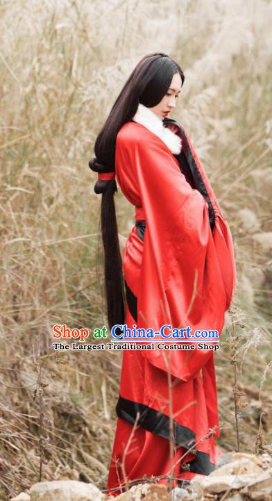 Traditional Chinese Han Dynasty Court Dancer Red Hanfu Dress Ancient Imperial Concubine Replica Costumes for Women