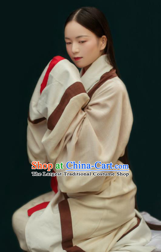 Traditional Chinese Han Dynasty Court Maid Beige Hanfu Dress Ancient Imperial Consort Replica Costumes for Women
