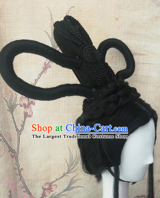 Chinese Traditional Cosplay Peri Swordswoman Black Wigs Ancient Court Princess Wig Sheath Hair Accessories for Women