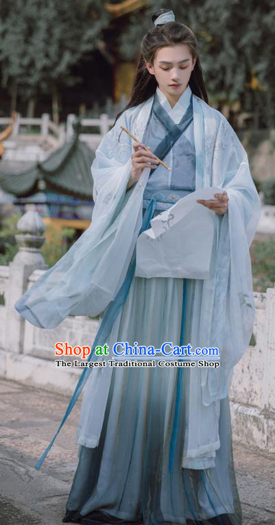 Traditional Chinese Jin Dynasty Nobility Childe Blue Hanfu Clothing Ancient Swordsman Prince Replica Costumes for Men