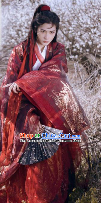 Traditional Chinese Jin Dynasty Swordsman Red Hanfu Clothing Ancient Nobility Childe Prince Wedding Replica Costumes for Men
