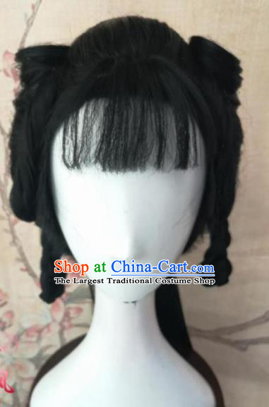 Chinese Traditional Cosplay Dragon Oath Kang Min Wigs Ancient Female Swordsman Wig Sheath Hair Accessories for Women