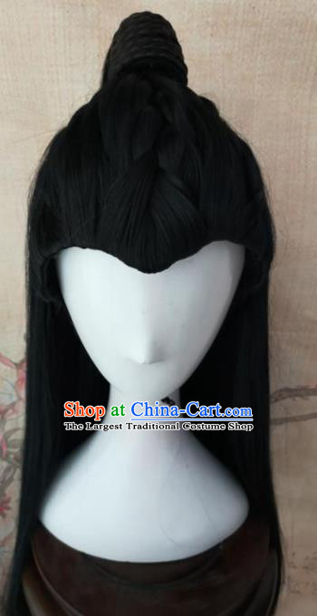 Traditional Chinese Cosplay Swordsman Black Wigs Ancient Prince Wig Sheath Hair Accessories for Men