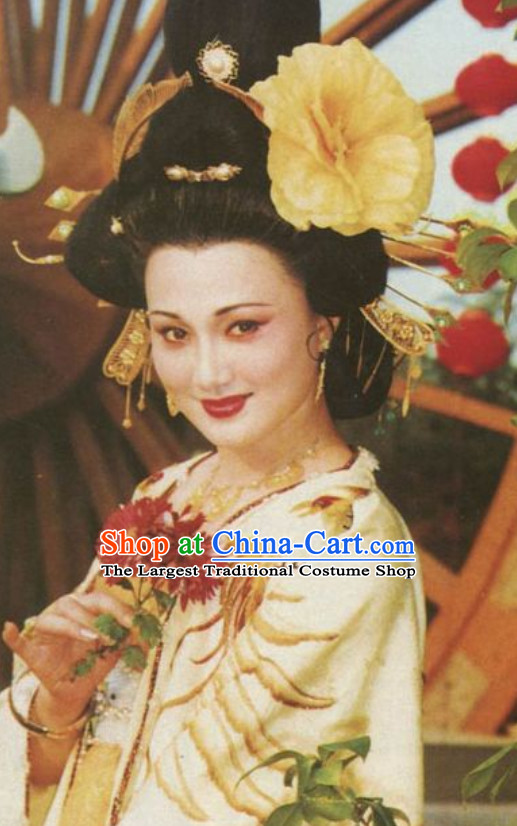 Chinese Classical Ancient Female Tang Dynasty Empress Wig and Hair Jewelry Set