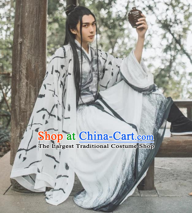 Traditional Chinese Jin Dynasty Nobility Childe Replica Costumes Ancient Prince Swordsman Hanfu Clothing for Men