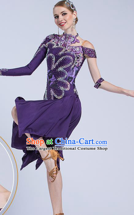 Top Latin Dance Competition Purple Dress Modern Dance International Rumba Dance Costume for Women